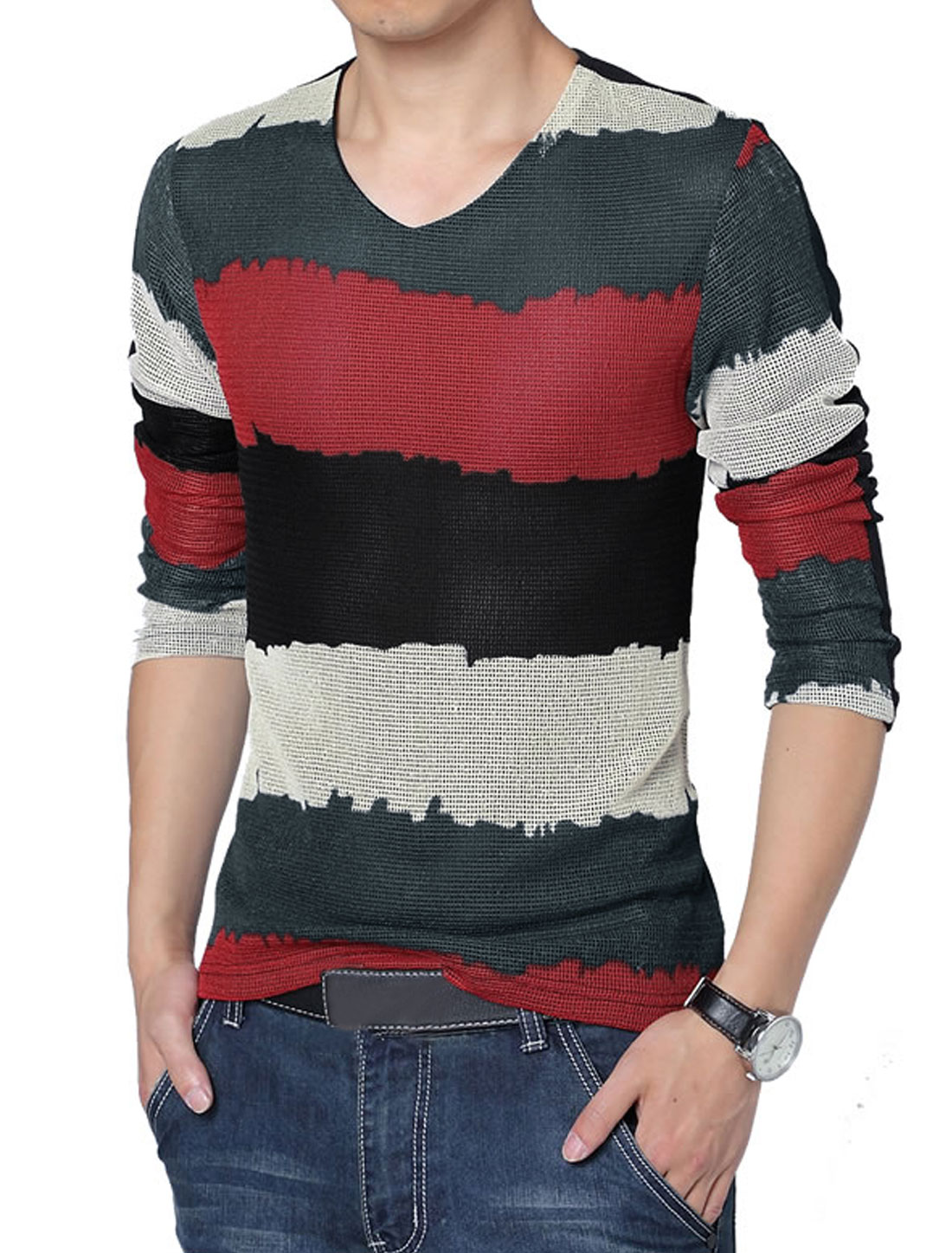 Men V Neck Color Block Stripes Splicing Cozy Fit T-Shirt Red Black L