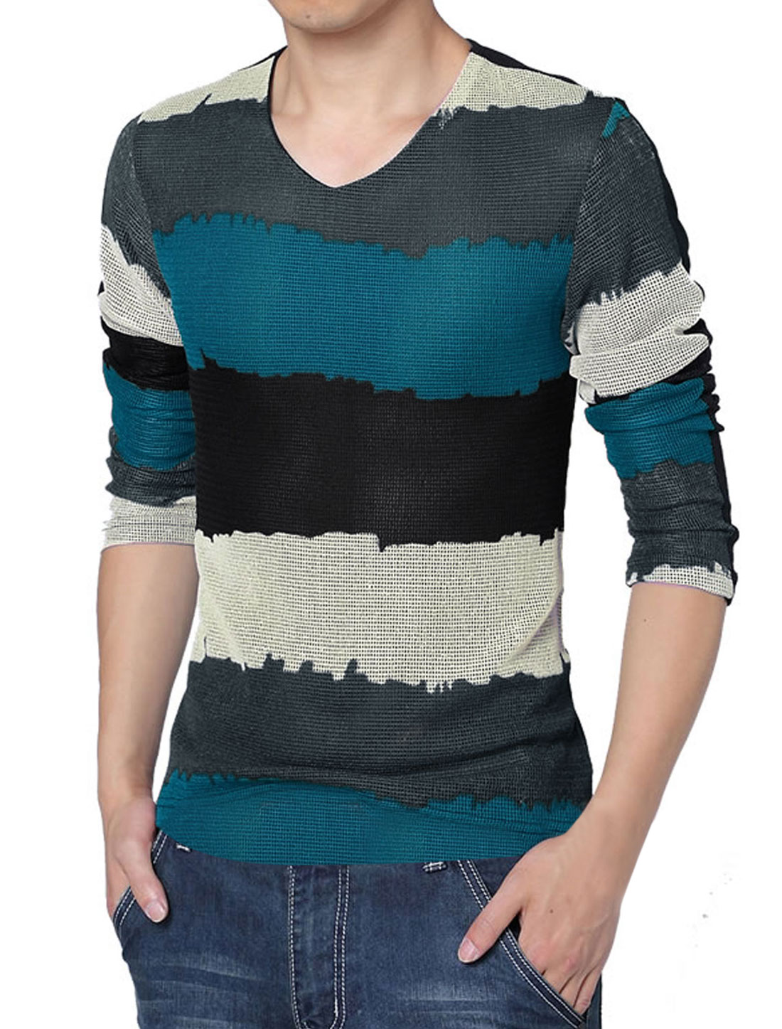 Men V Neck Splicing Stripes Lining Shirt Blue Black L