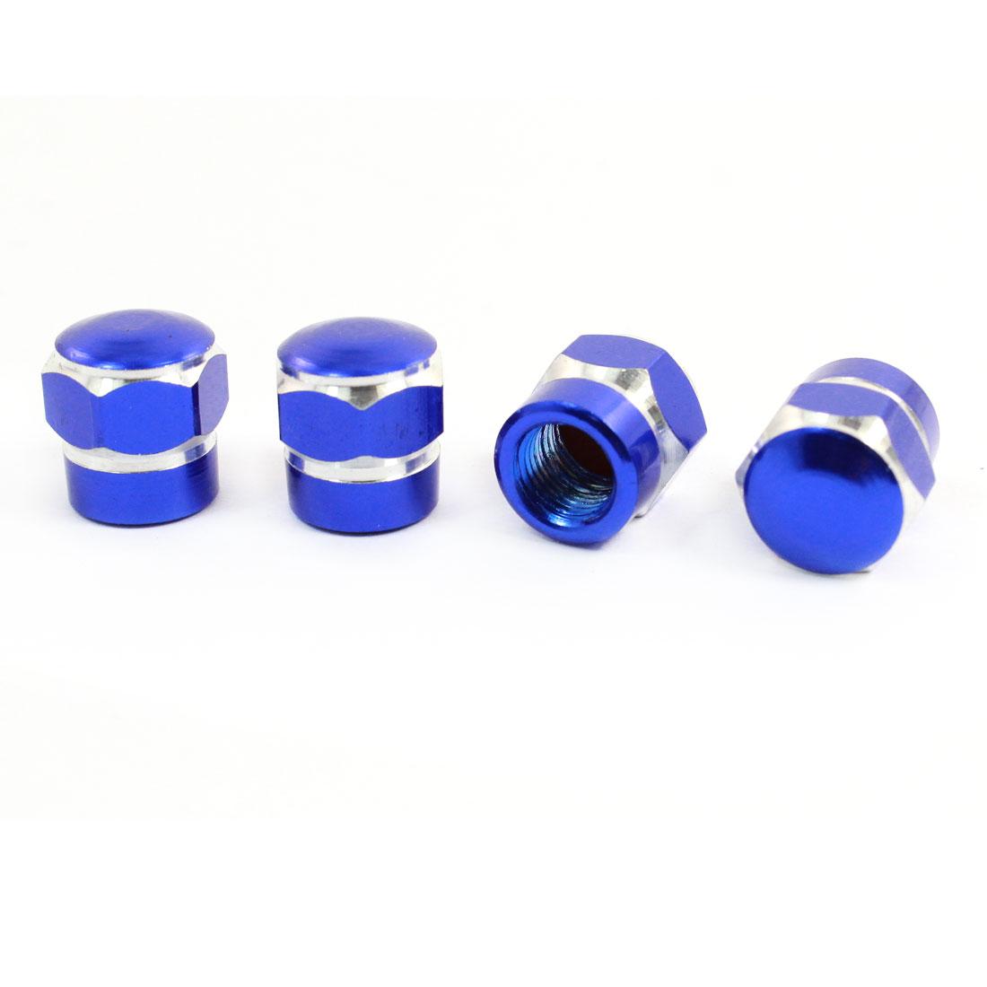 4 Pcs Blue Hex Metal Auto Car Tire Valve Stem Cap Cover Decor 13 x 13mm