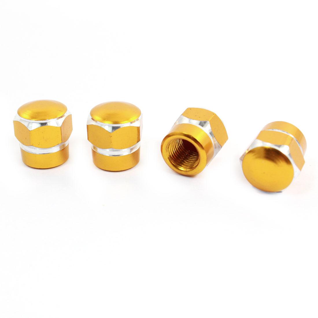 4 Pcs Gold Tone Car Hex Metal Tyre Tire Valve Stem Decorative Dust Cap Cover