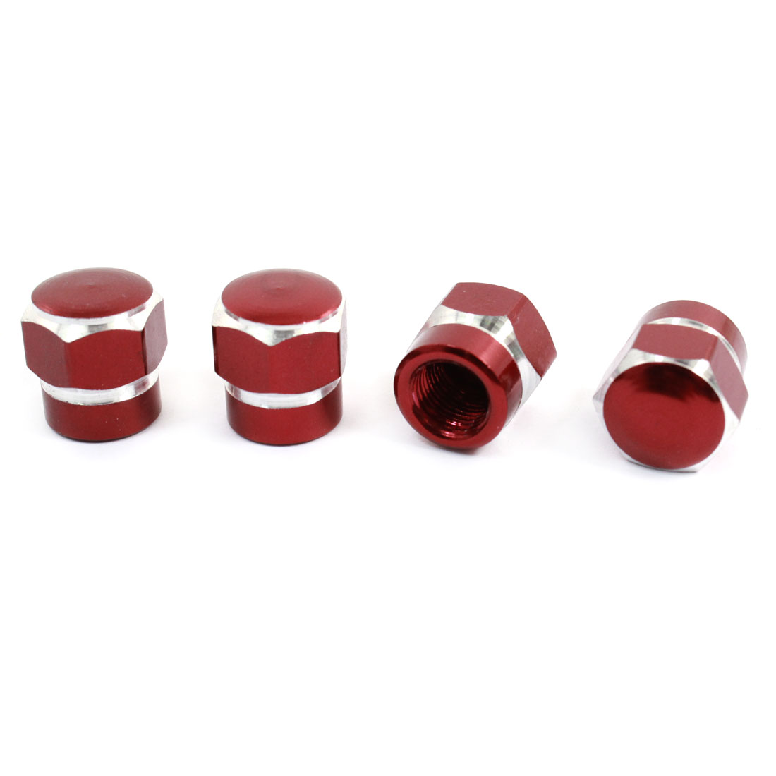 4 Pcs Car Vehicle Red Hexagon Metal Tire Valve Caps Cover Protector 7mm Inner Dia