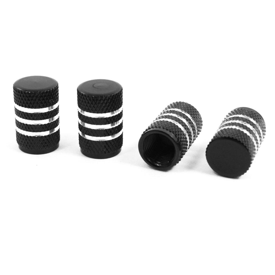 4 Pcs Black Alloy Car Vehicle Tyre Tire Valve Stem Decorative Dust Cap Cover 7mm Hole