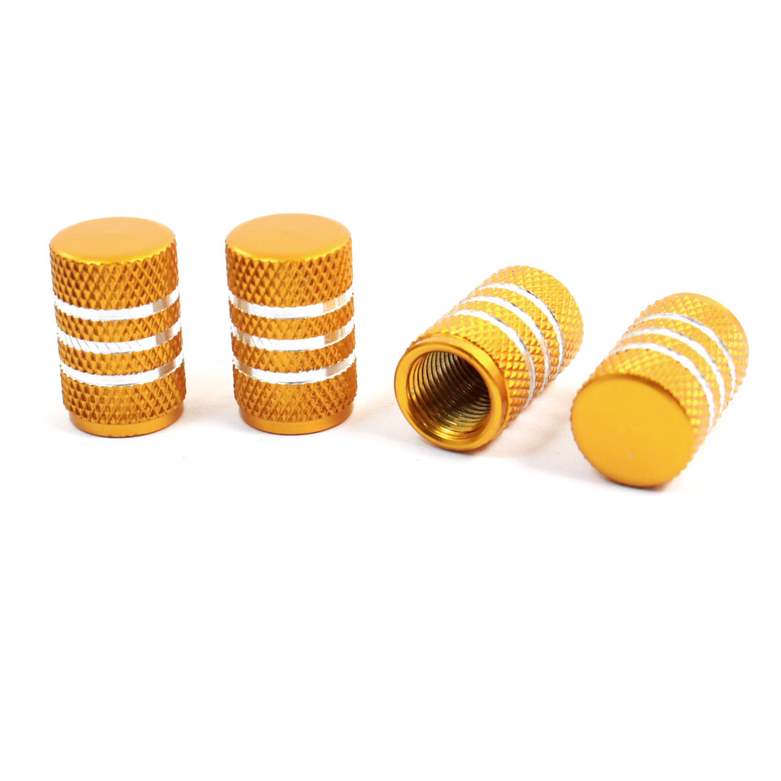 7mm Male Thread Gold Tone Alloy Auto Tyre Tire Valve Caps Protectors Covers 4 Pcs
