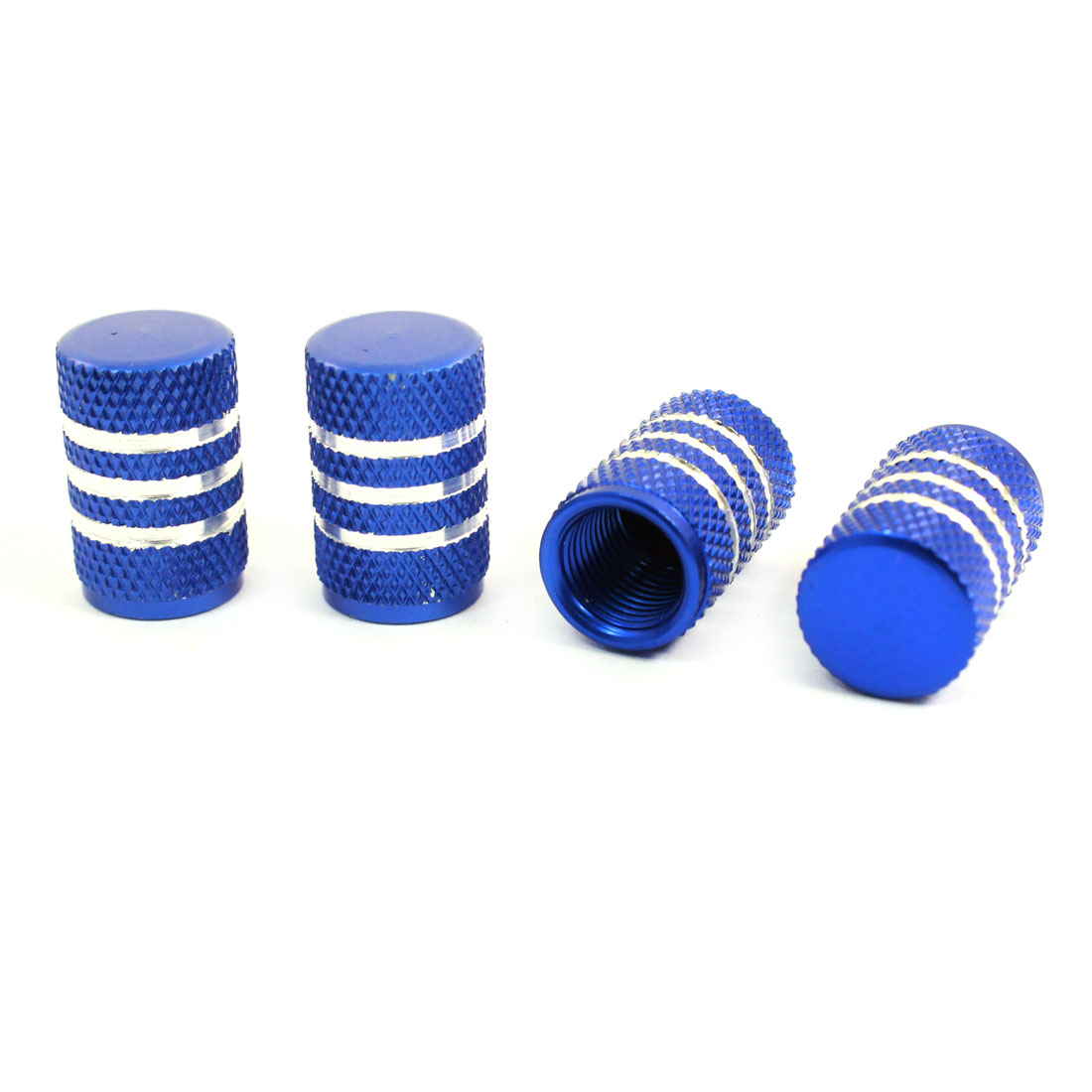 4 Pcs Blue Alloy Auto Car Tyre Tire Valve Caps Protectors Covers 9mm Inner Dia