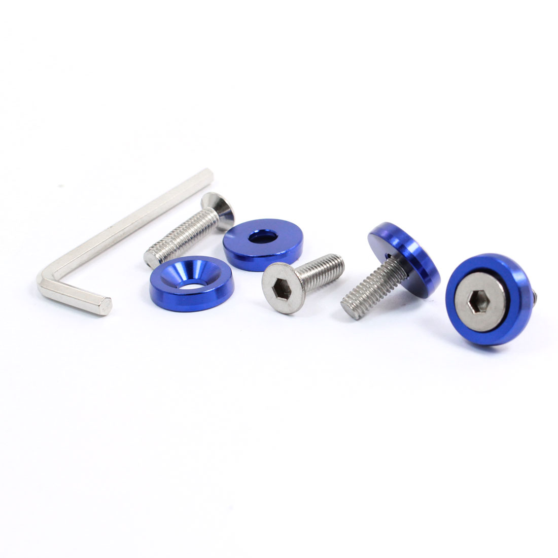 "Blue Metal License Plate Frame Bolts Screws Cover Cap 0.7"" Dia 4 Pcs"