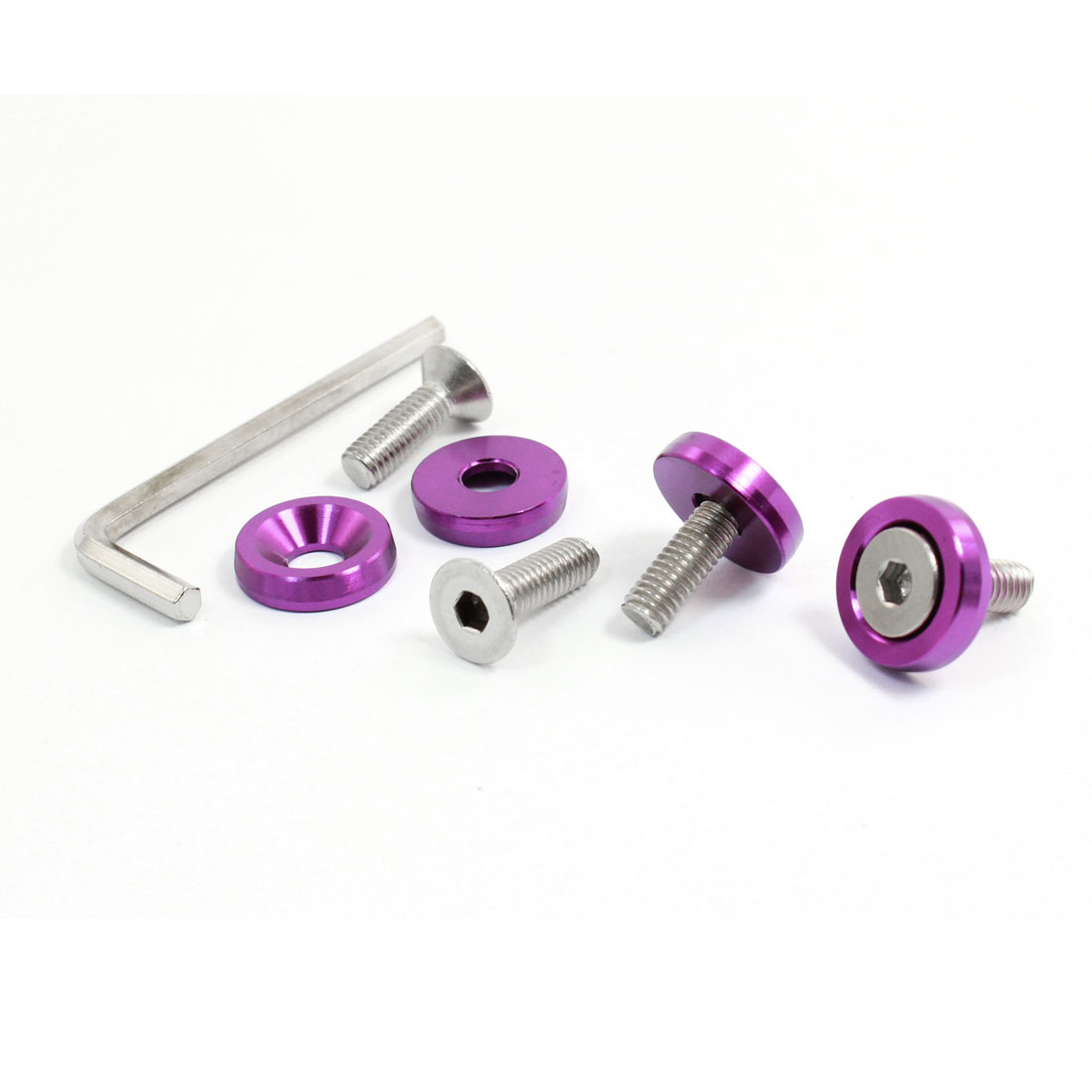4 Pcs Purple Metal Motorcycle Car License Round Head Plate Screw Bolt Decoration