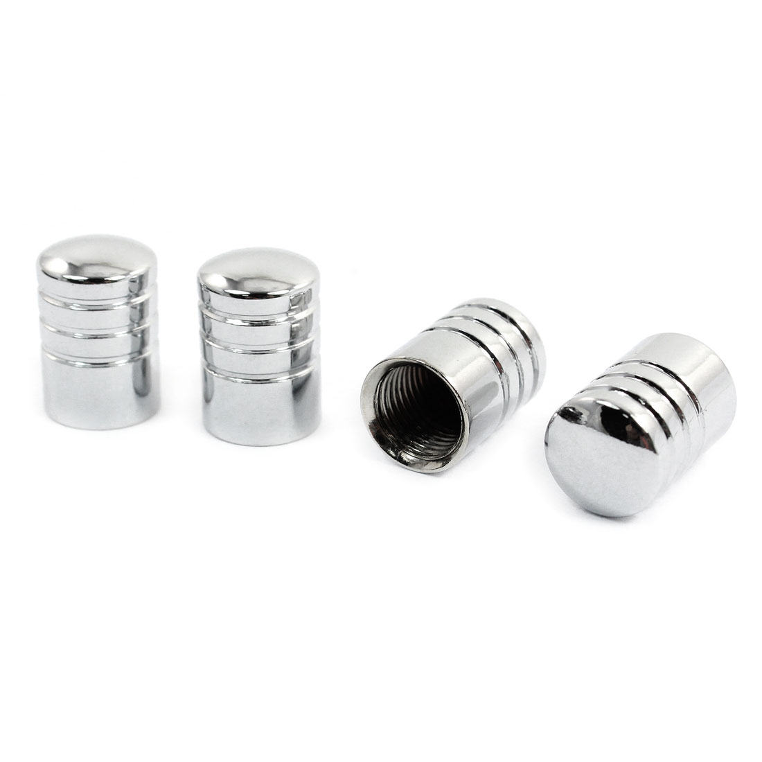 4 Pcs Car Silver Tone Cylinder Shape Tire Tyre Valve Stem Protectors Covers 8mm Inner Dia