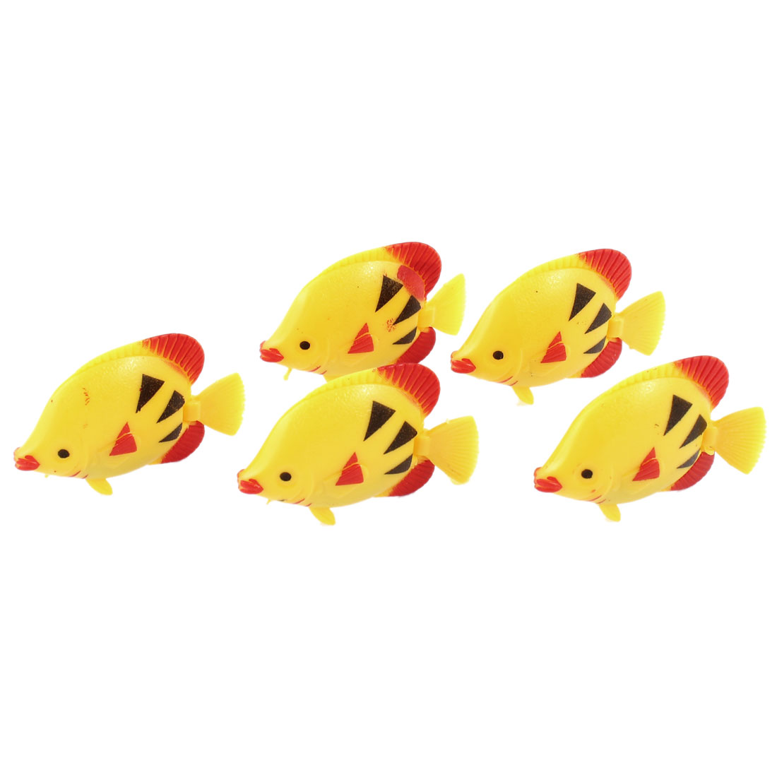 5 Pcs Aquarium Manmade Wiggly Tail Swimming Fishes Decor Yellow Red