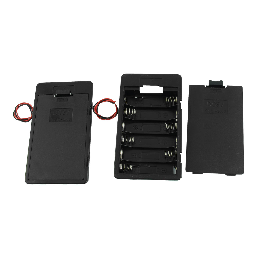 2pcs Black Flat Tip Battery Storage Case Holder for 6 x AA Batteries