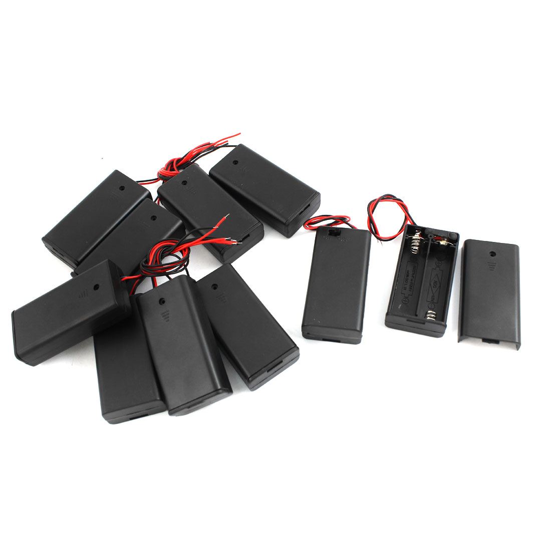 10pcs Black Flat Tip Battery Storage Case Holder for 2 x AA Batteries