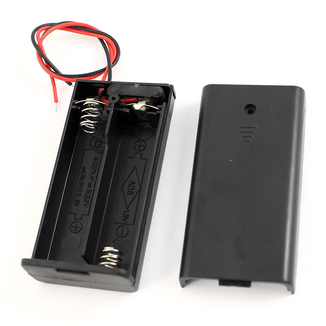 Black Plastic Flat Tip Battery Storage Case Holder for 2 x AA Batteries