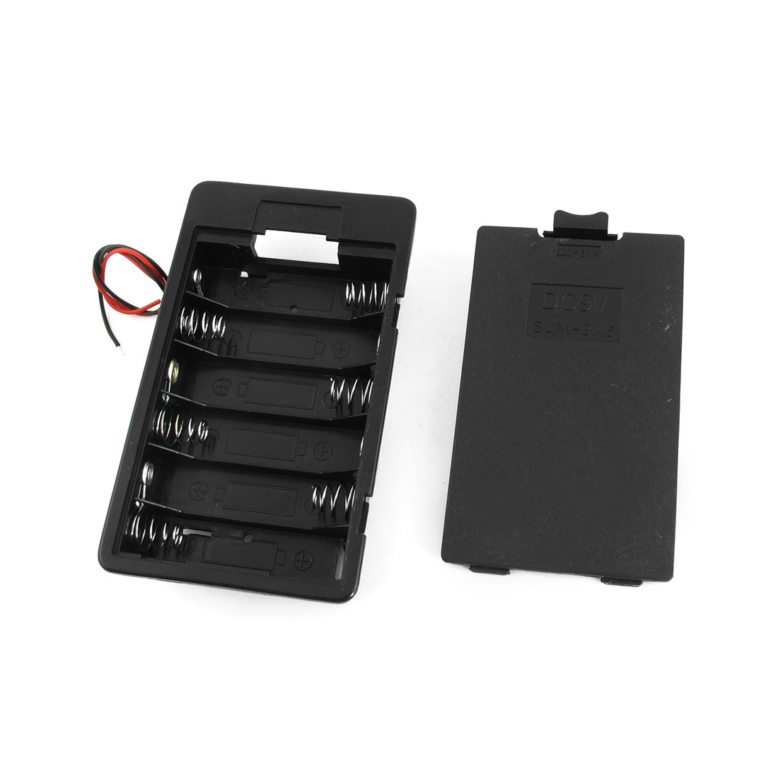 Spring Load 6 x AA Battery Box Case Holder Container Storage w Cover