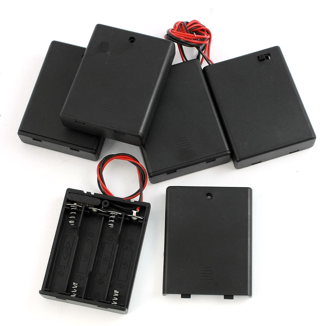 5Pcs Black 4 x AAA Batteries Battery Holder Case Storage w On/Off Switch