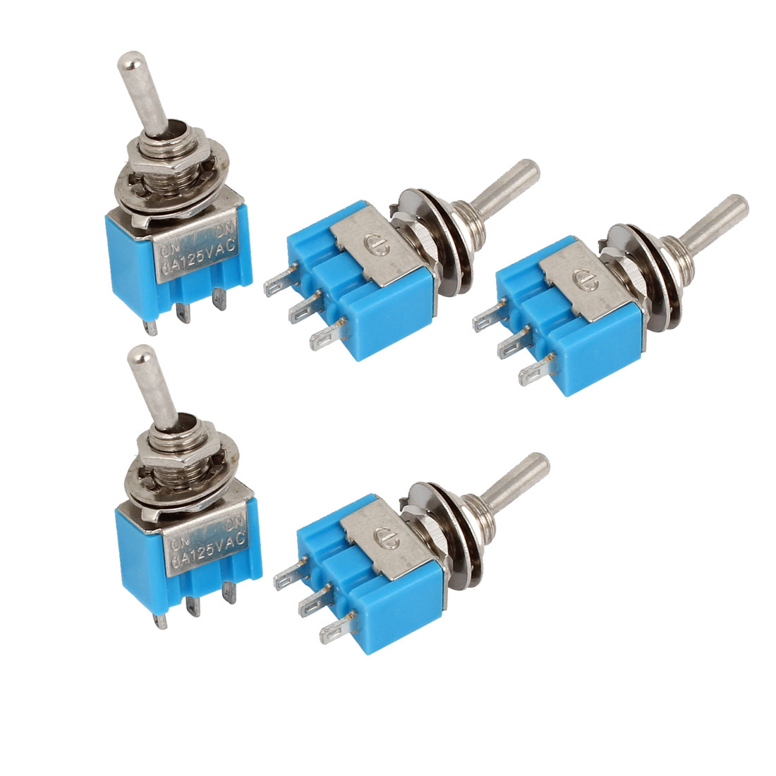 5pcs 2 Position SPDT On/On Self-locking Mini Toggle Switch AC 125V 6A
