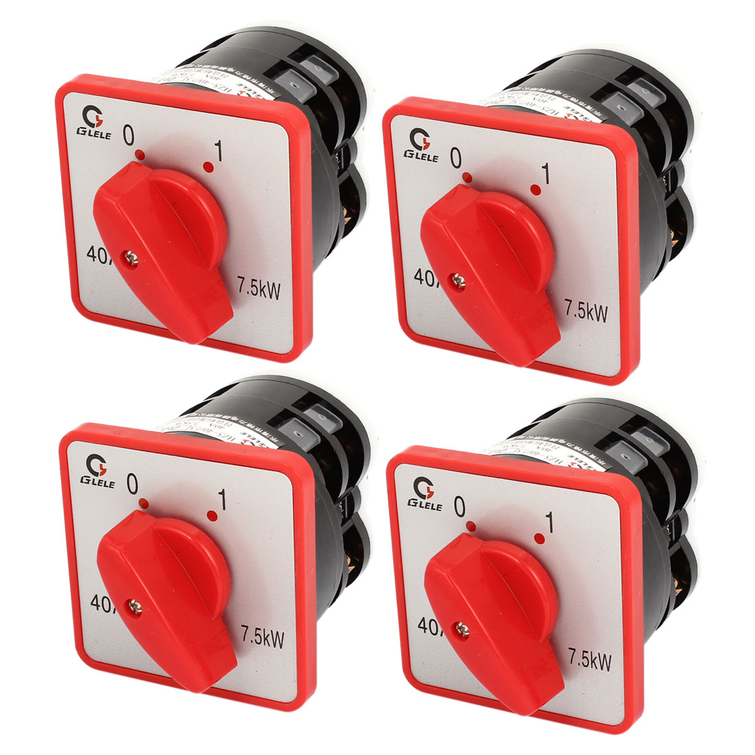 AC 380V 40A Rotary Cam 1-0 Position Combination Switch Black Red 4pcs