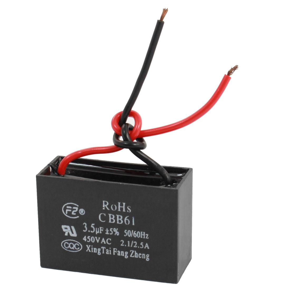 AC 450V 50/60Hz Rectangle Dual Wire Motor Run Capacitor 3.5uF CBB61
