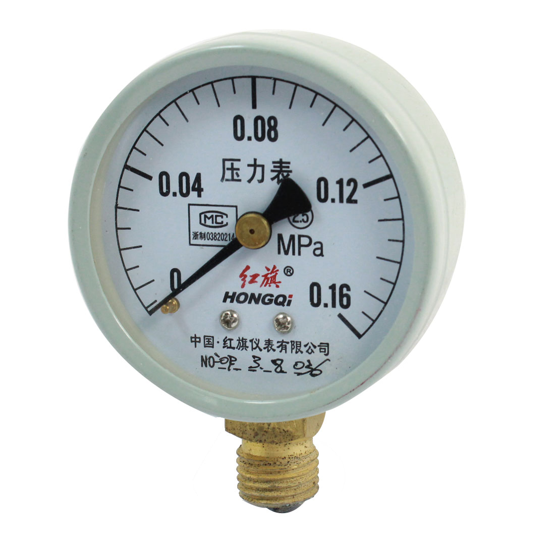 1/4 PT Male Thread Air Liquid Pressur Measuring Pressure Gauge 0-0.16Mpa