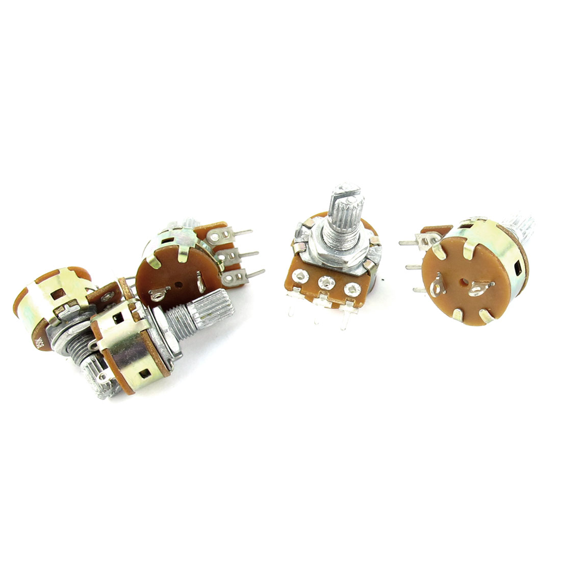 5Pcs B50K 50K Ohm 7mm Thread 6mm Knurled Shaft 3 Terminals Linear Single Turn Top Adjustable Rotary Taper Potentiometer
