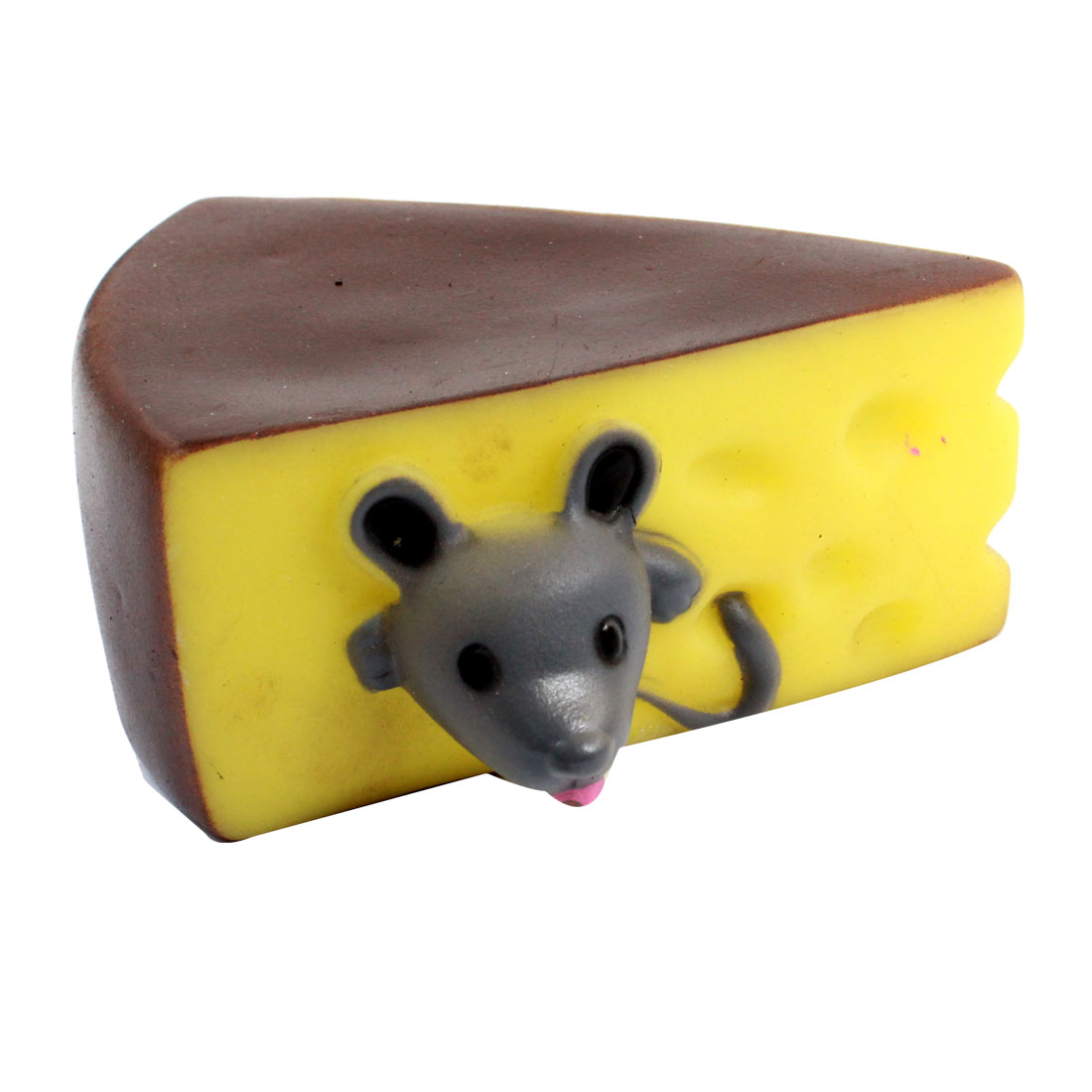 Sandwich Mouse Head Design Soundable Pet Dog Puppy Squeeze Chew Toy Coffee Color Yellow