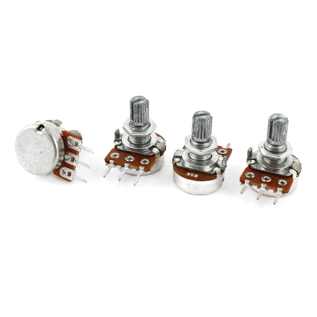 4 Pcs Type B Single Linear 15mm Shaft Rotary Taper Potentiometers B5K 5K Ohm