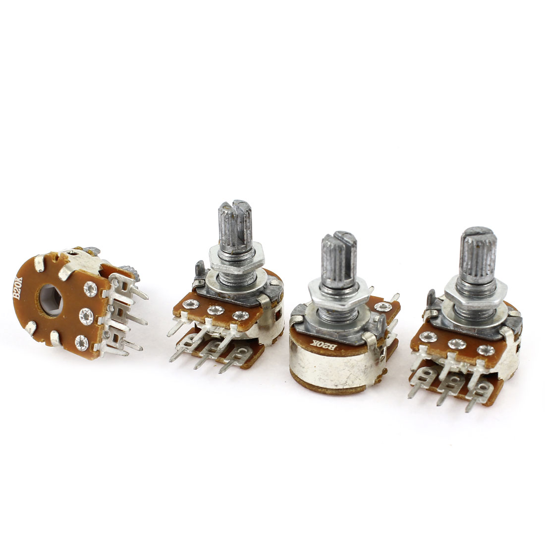 4Pcs 20K Ohm 15mm Shaft B Type Linear Dual Rotary Rotatable Taper Potentiometer