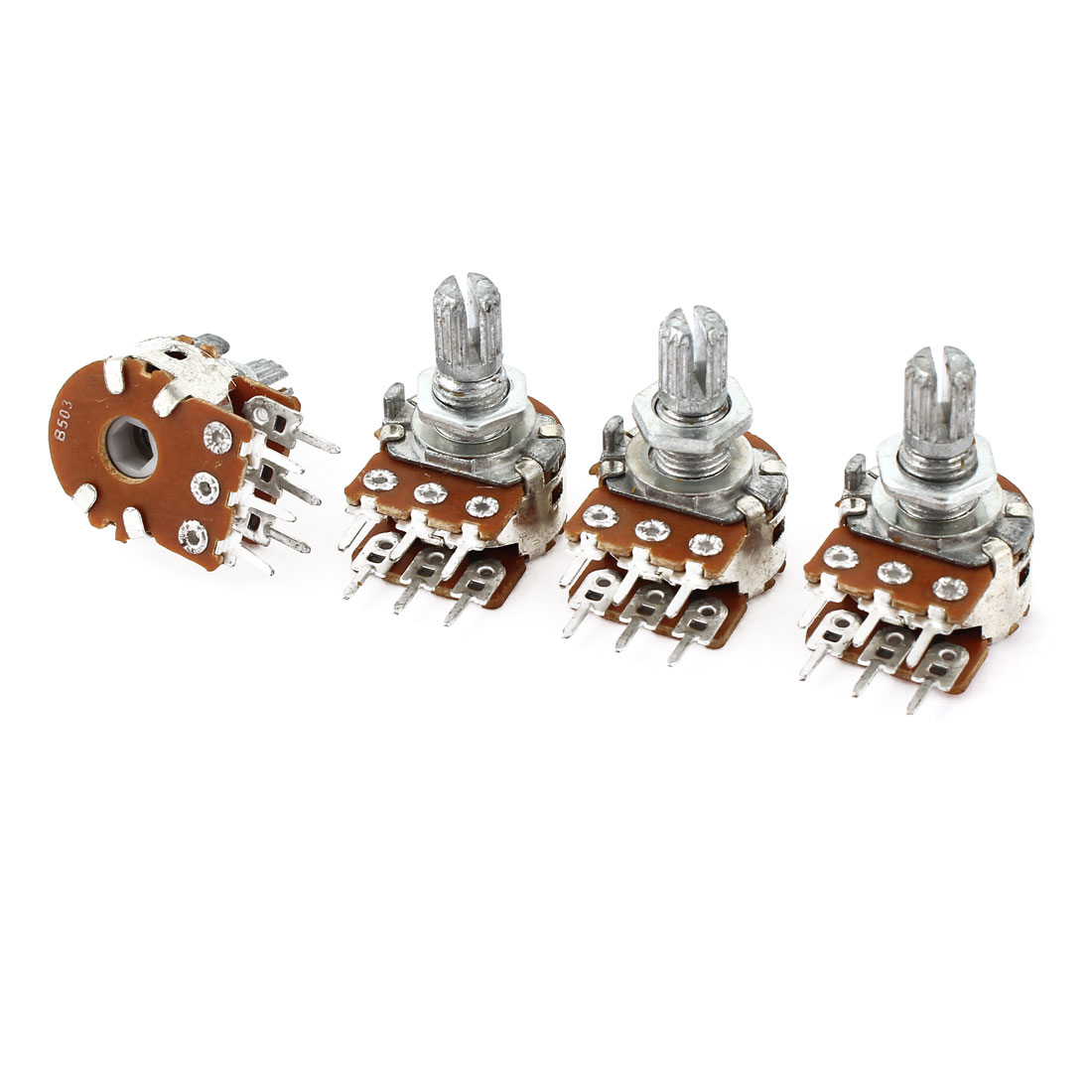 4Pcs 50K Ohm 15mm Shaft B Type Linear Dual Rotary Rotatable Taper Potentiometer