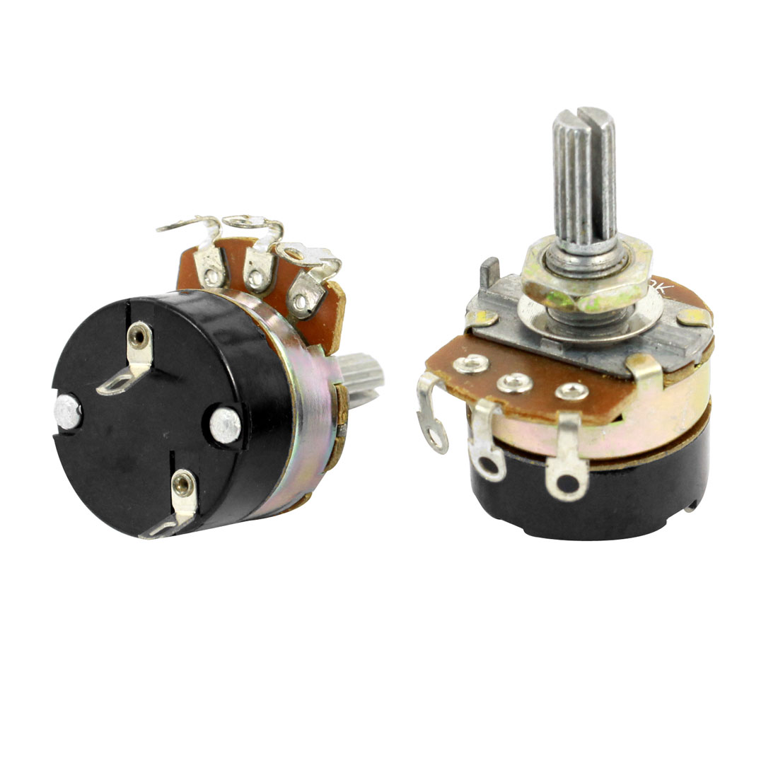 2Pcs B50K 50K Ohm 6mm Shaft Single Linear Rotary Switch Carbon Potentiometers
