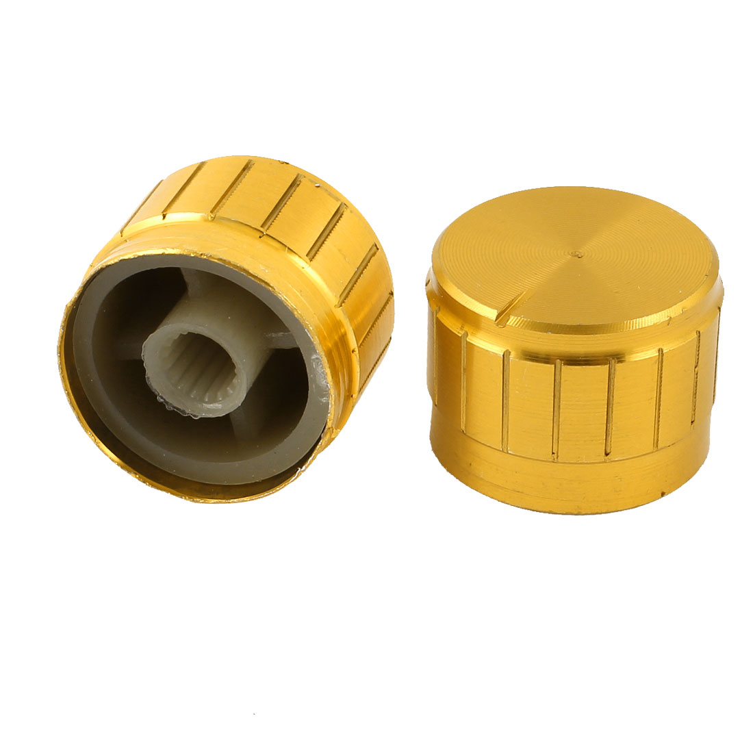 2 Pcs Gold Tone Volume Control Rotary Aluminum Potentiometer Knobs 23mm x 17mm