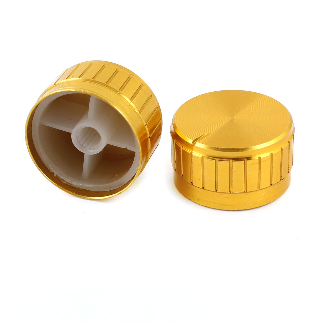 2 Pcs Gold Tone Volume Control Rotary Aluminum Potentiometer Knobs 30mm x 17mm