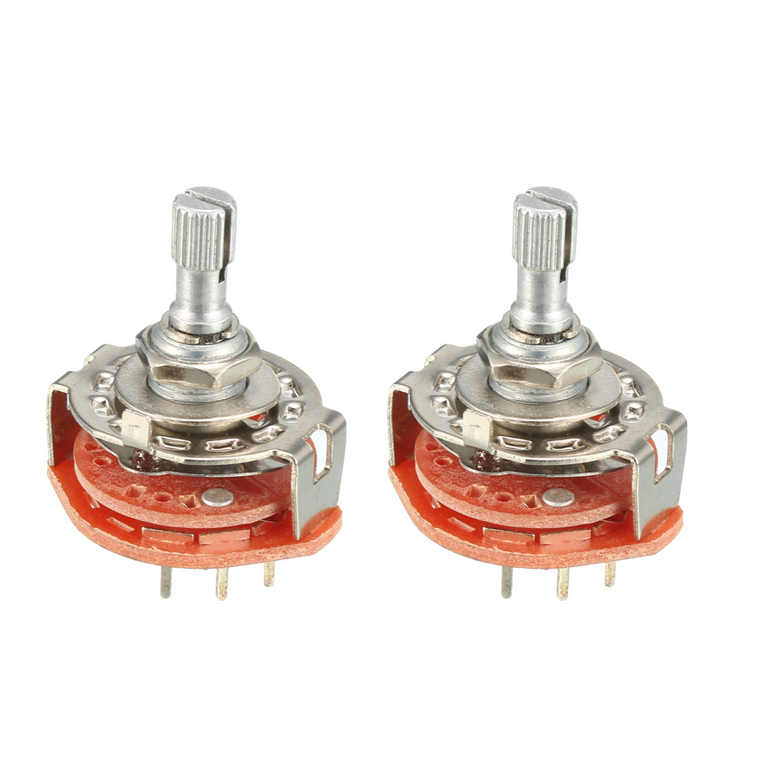 2Pcs 2P3T 2 Pole 3 Position 6mm Knurled Shaft Dia Band Selector Rotary Switch