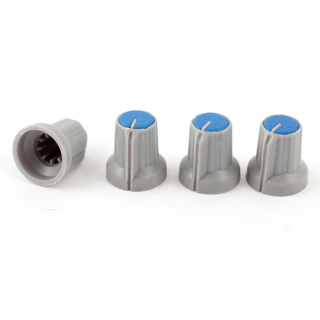4pcs 5.5mm Knurled Shaft Taper Volume Knob Cap Gray Blue for Potentiometer Pot