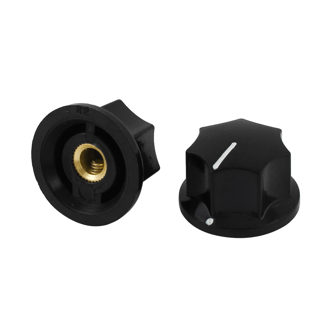 2 Pcs 6mm Shaft Dia Volume Control Plastic Potentiometer Knobs Caps Black