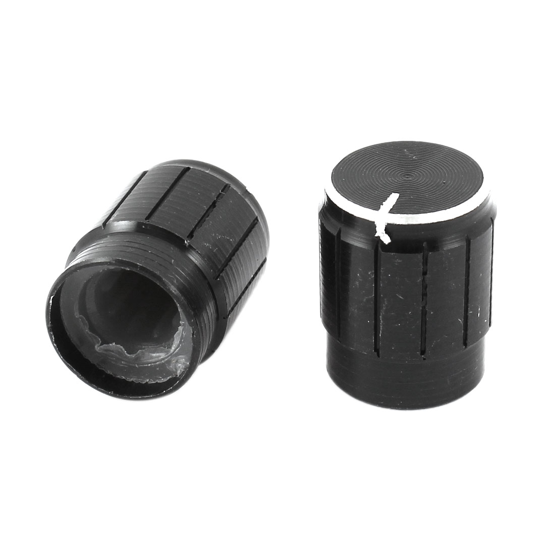 2 Pcs 13x17mm Volume Control Aluminum Potentiometer Knobs Caps Black