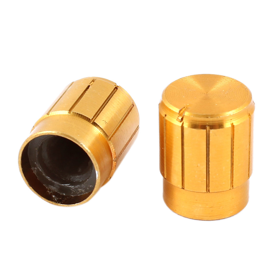 2 Pcs Gold Tone 6mm Control Shaft Rotary Aluminum Potentiometer Knobs