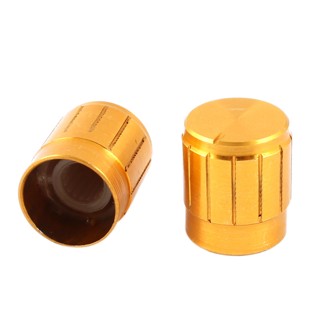 2 Pcs Gold Tone Volume Control Rotary Aluminum Potentiometer Knobs 15mm x 17mm
