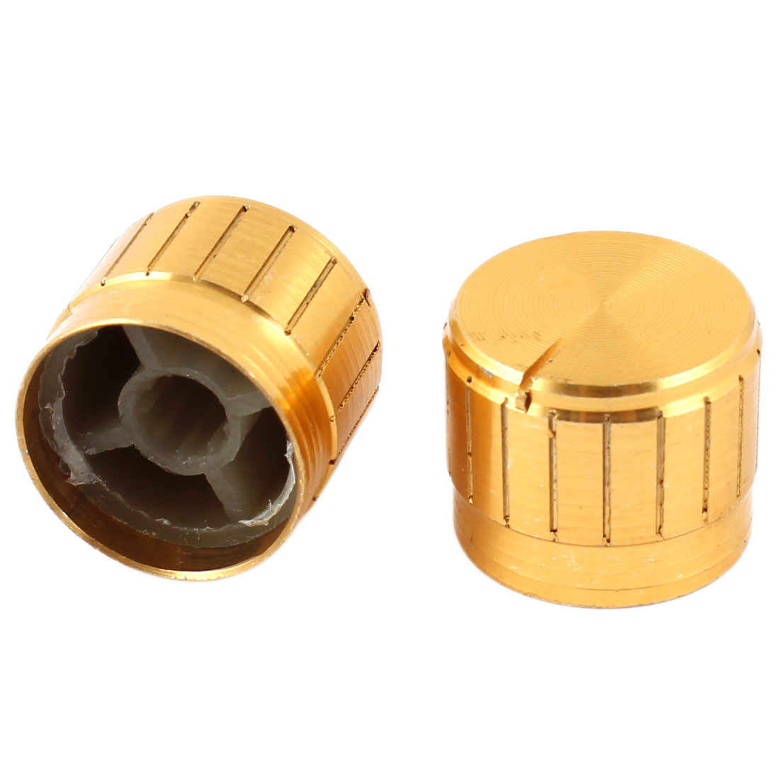 2 Pcs Gold Tone Volume Control Rotary Aluminum Potentiometer Knobs 21mm x 17mm