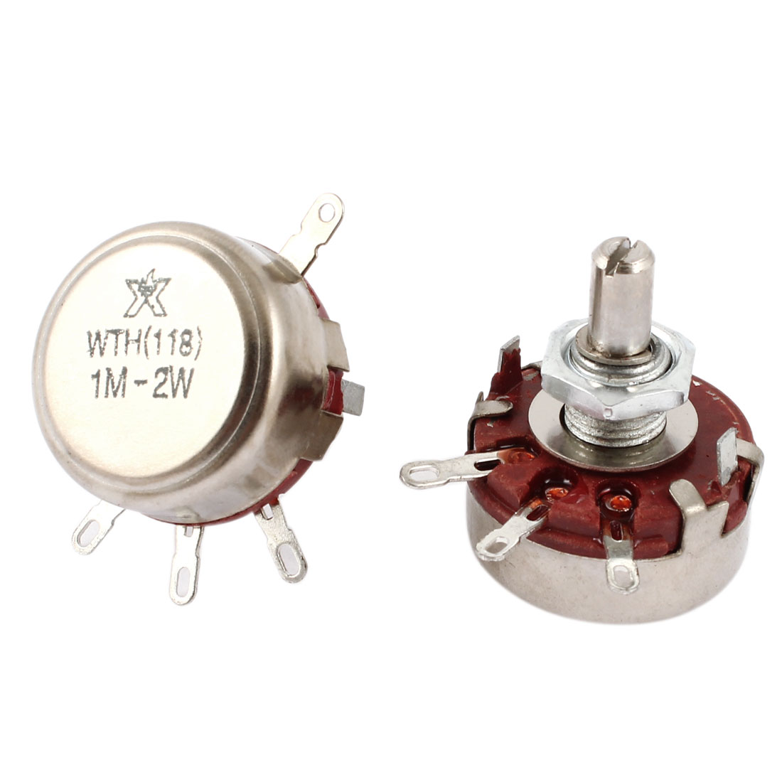 2 Pcs Single Turn Rotary Taper Carbon Potentiometer 2W Watt 1M Ohm WTH118