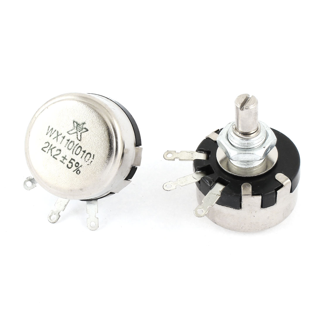 2 Pcs Single Turn Rotary Taper Carbon Potentiometer 2W 2.2K Ohm WTH110 010