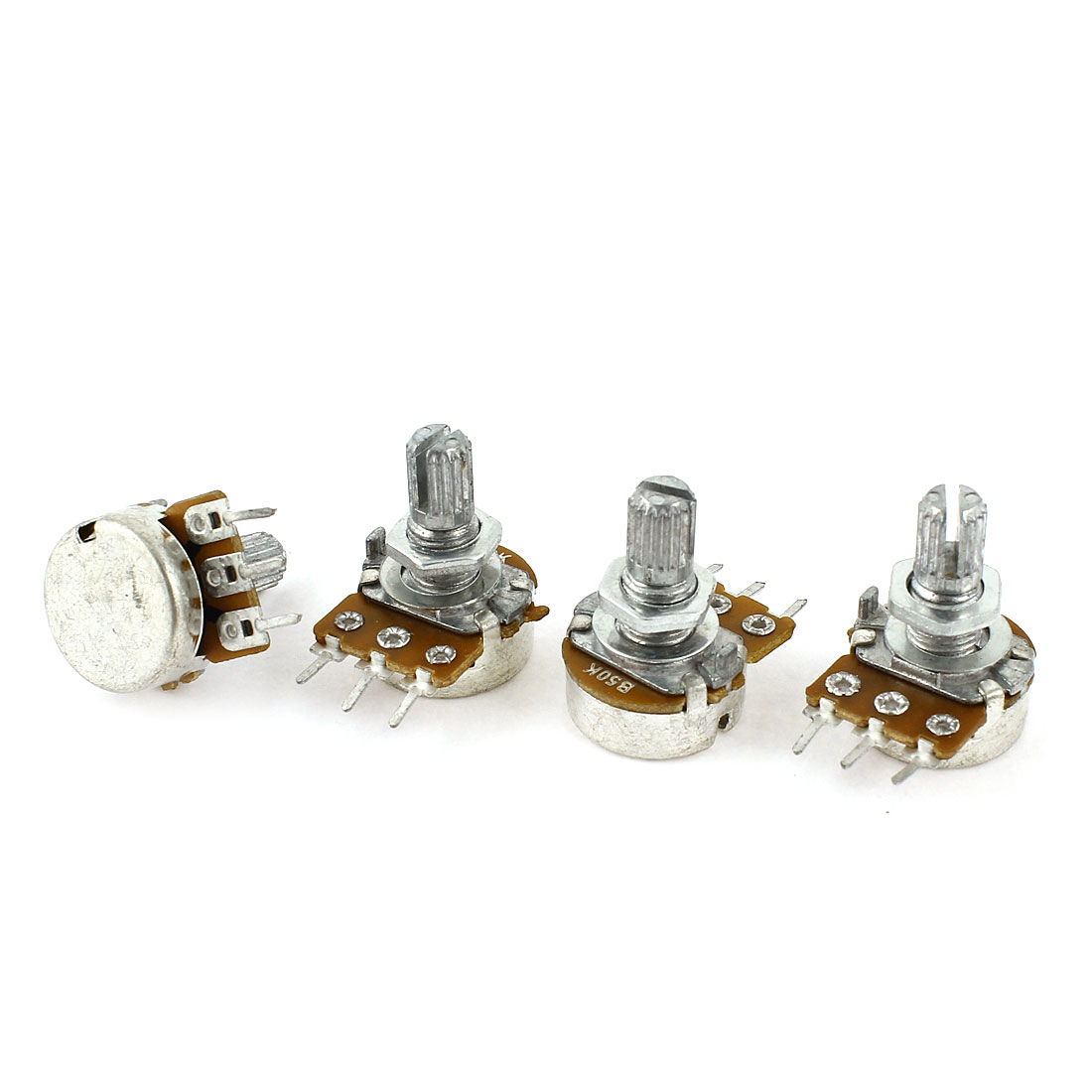 4 Pcs Single Linear Knurled Shaft Control Volume Potentiometers 50K Ohm WH148