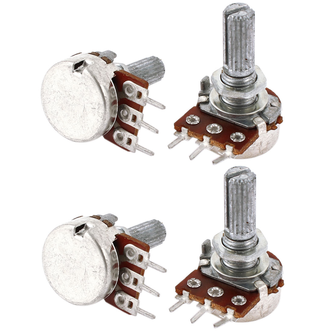 4 Pcs Type B Single Linear 20mm Shaft Rotary Taper Potentiometers B1K 1K Ohm