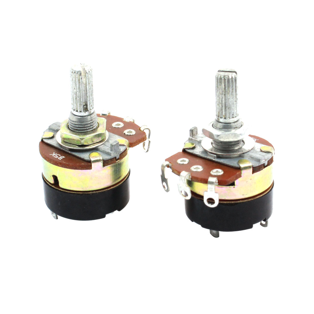 2Pcs B5K 5K Ohm Single Linear Rotary Switch Carbon Potentiometers