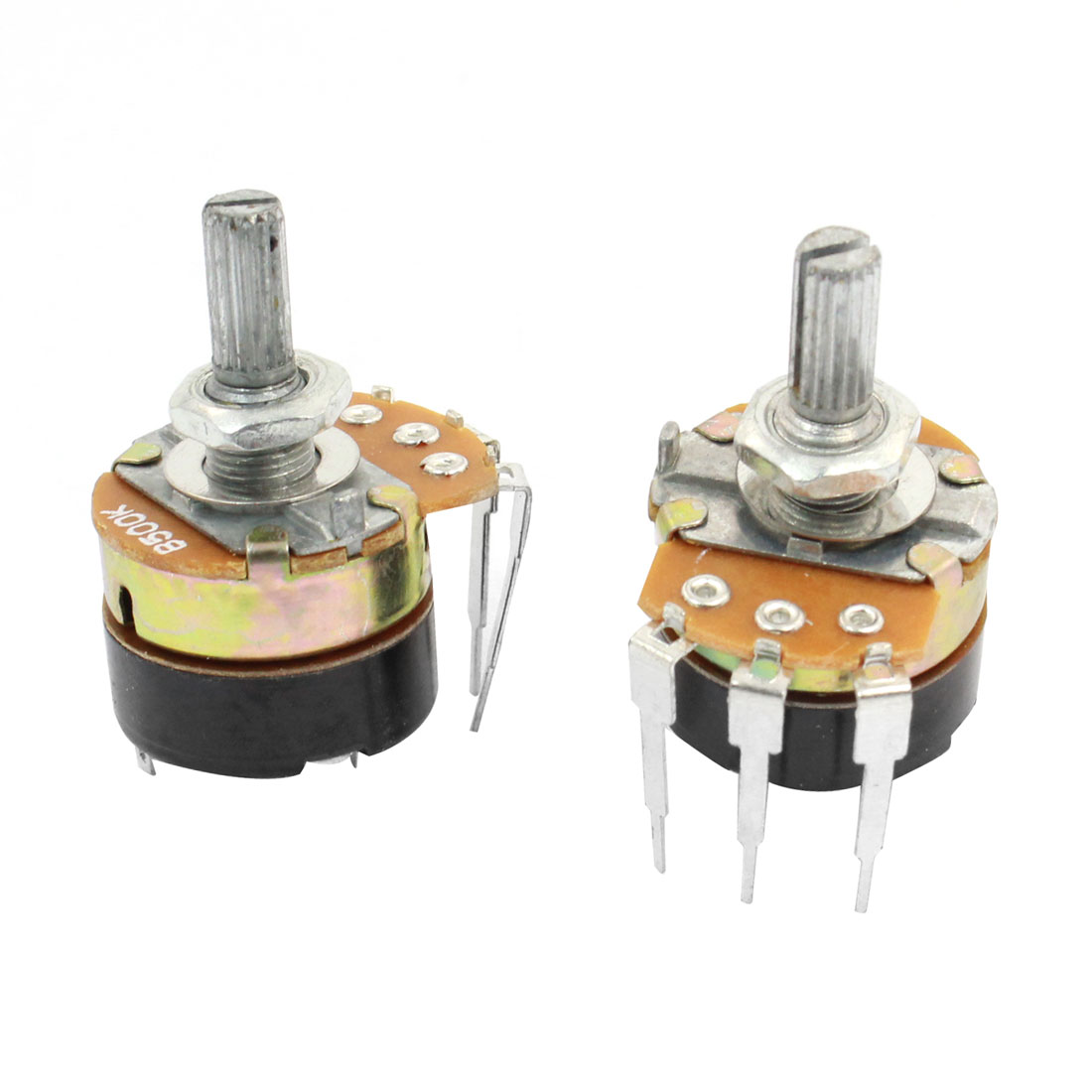 2Pcs B500K 500K Ohm 6mm Knurled Split Shaft Rotary Switch Carbon Potentiometers