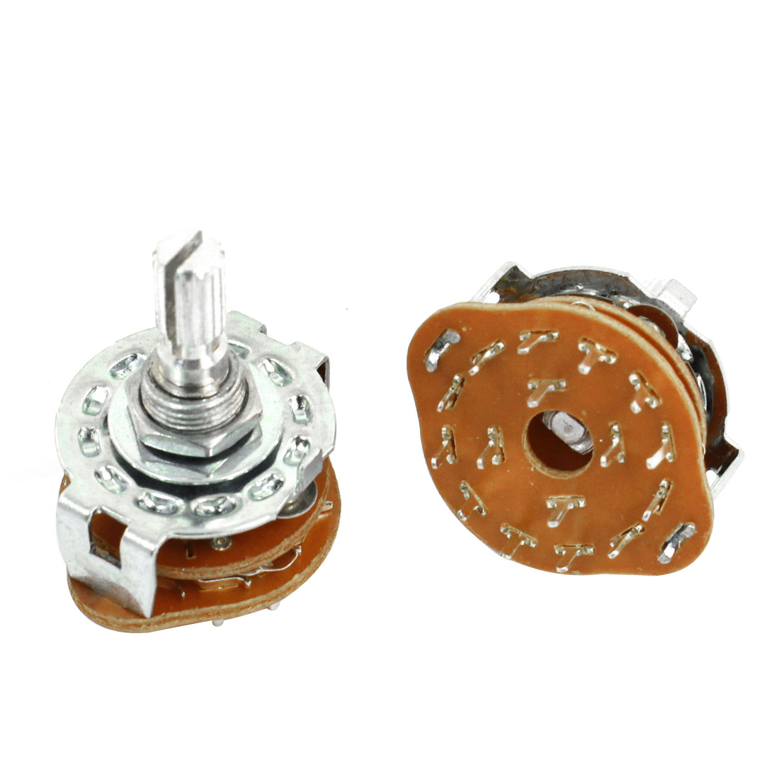 2 Pcs 4P3T 4 Pole 3 Position 6mm Knurled Shaft Dia Band Selector Rotary Switch