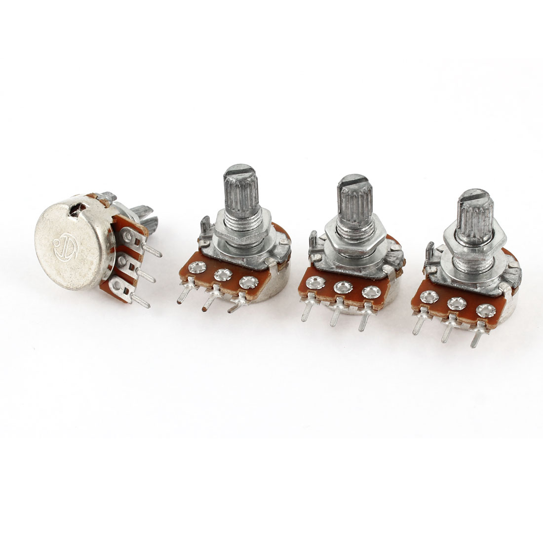 4 Pcs Single Linear Knurled Shaft Control Volume Potentiometers 500K Ohm WH148