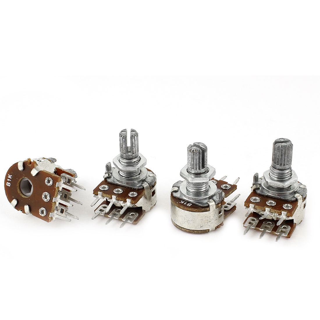 4Pcs 1K Ohm 15mm Shaft B Type Linear Dual Rotary Rotatable Taper Potentiometer