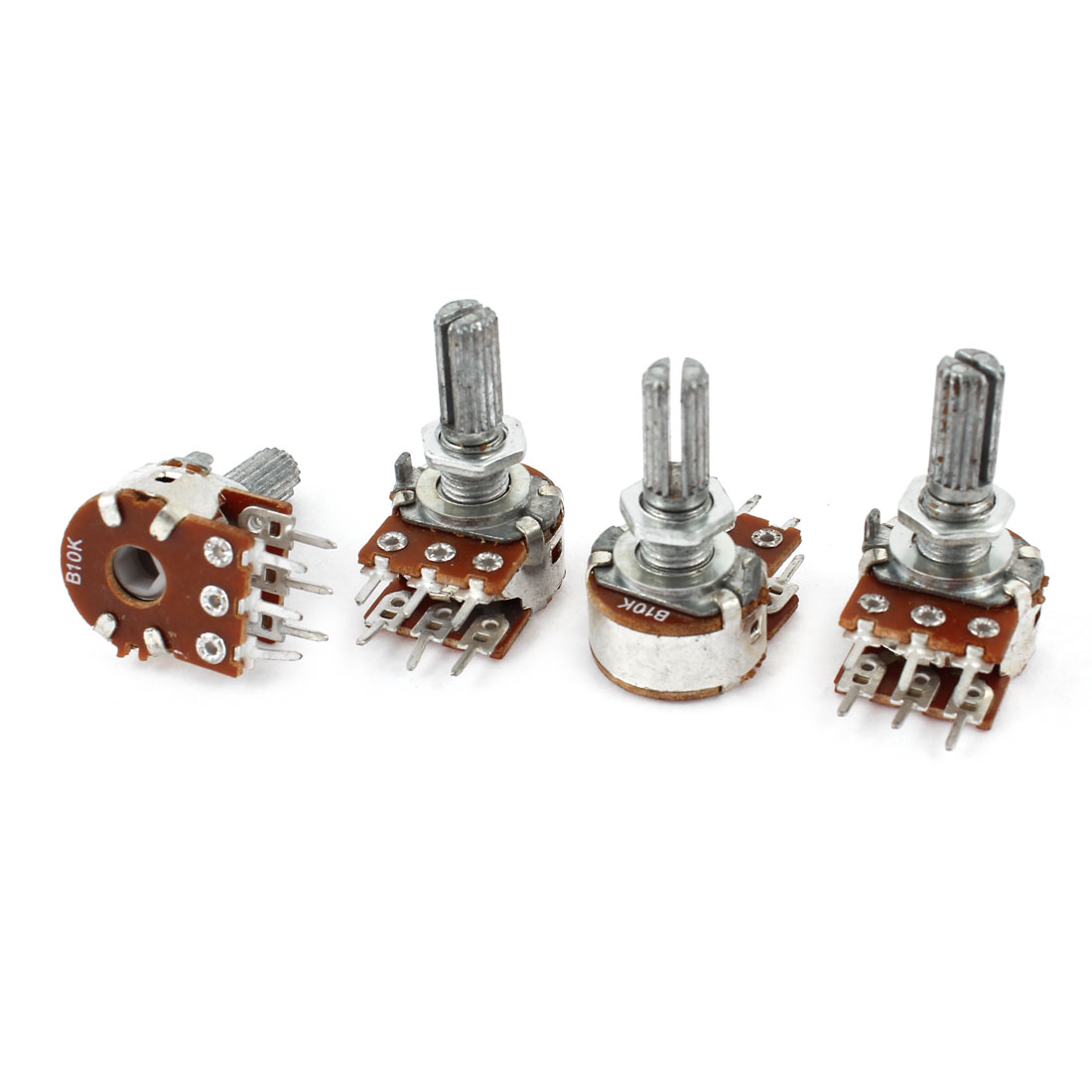 4Pcs 10K Ohm 20mm Shaft B Type Linear Dual Rotary Rotatable Taper Potentiometer