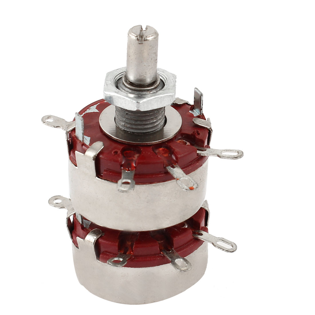 WTH118 6mm Shaft Dia Dual 100K Ohm 2W 2 Gang Linear Carbon Potentiometer