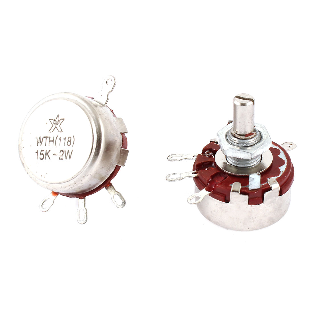 2 Pcs Single Turn Rotary Taper Carbon Potentiometer 2W 15K Ohm WTH118