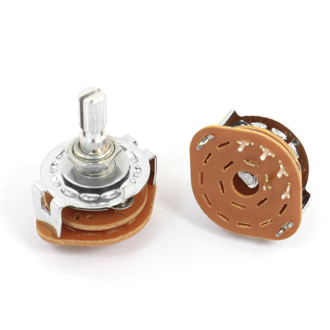 2 Pcs 1P4T 1 Pole 4 Position 6mm Knurled Shaft Dia Band Selector Rotary Switch