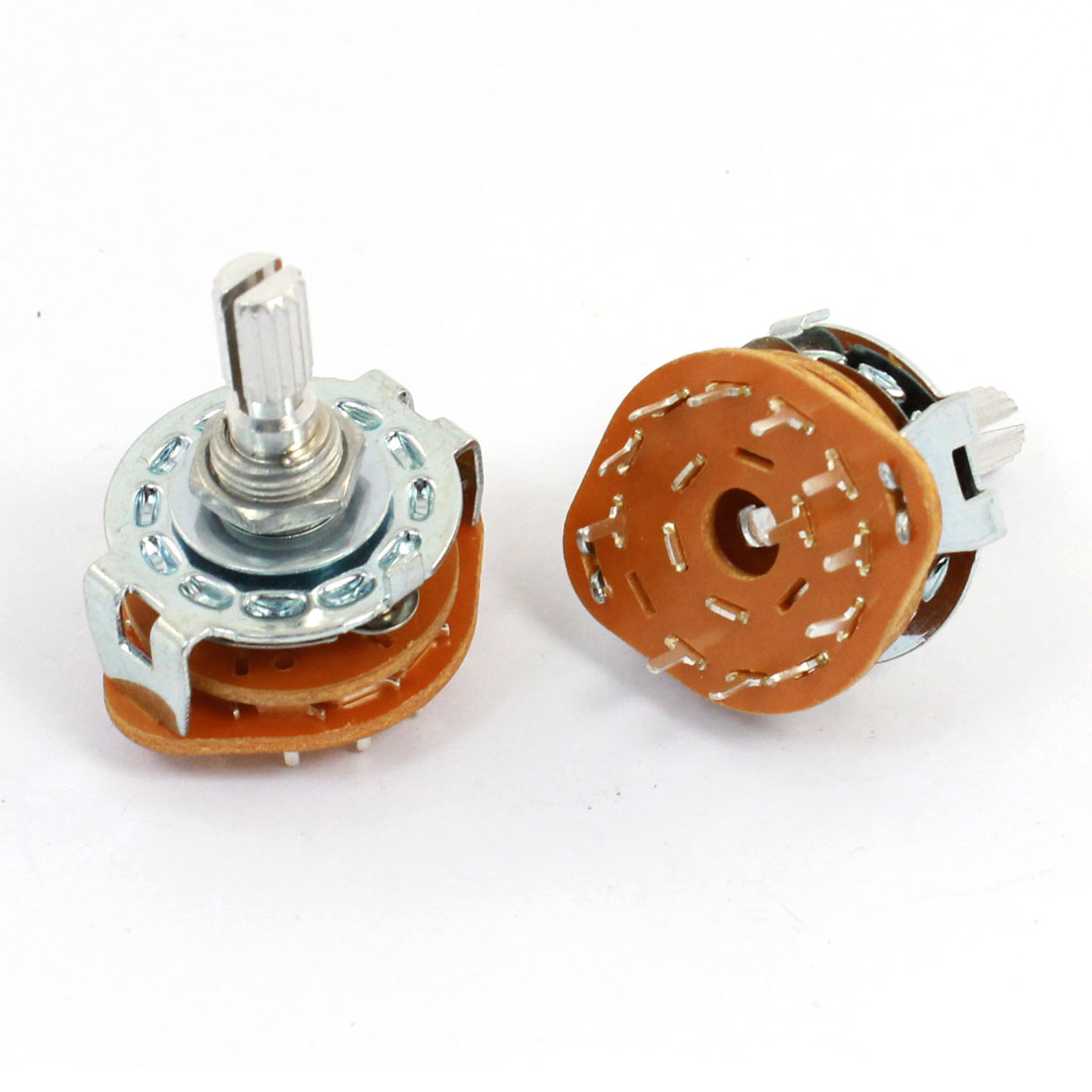 2 Pcs 1P11T 1 Pole 11 Position 6mm Knurled Shaft Dia Band Selector Rotary Switch